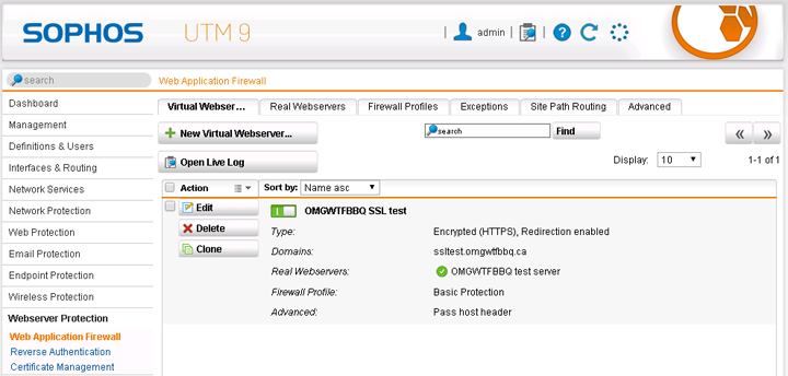 Web Application Firewall With Https On Sophos Utm Omgwtfbbq